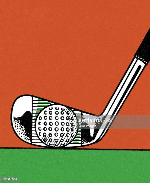 man teeing off - green golf course stock illustrations, clip art, cartoons, & icons