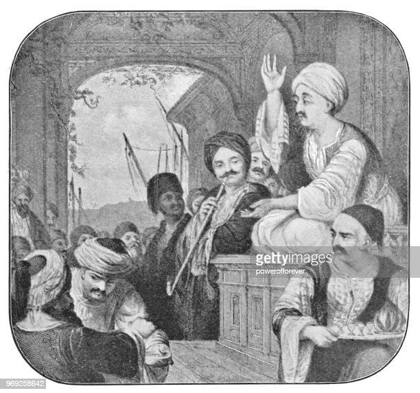 man telling a story at a hookah cafe in istanbul, turkey - ottoman empire - ottoman empire stock illustrations