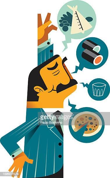 ilustrações de stock, clip art, desenhos animados e ícones de a man thinking about food - buchinho