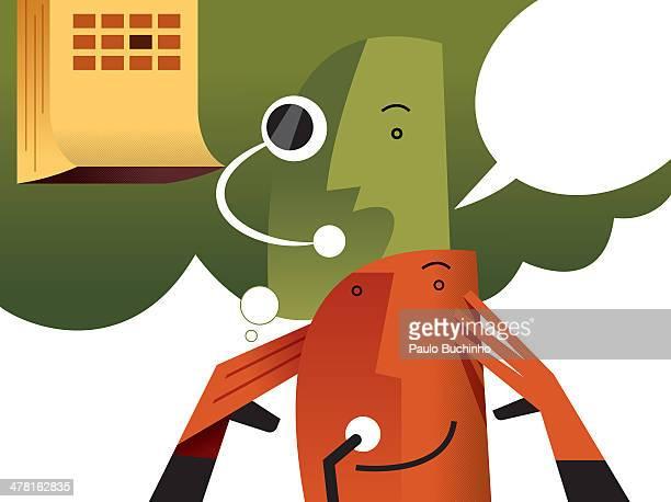 ilustrações de stock, clip art, desenhos animados e ícones de a man thinking of what to say - buchinho