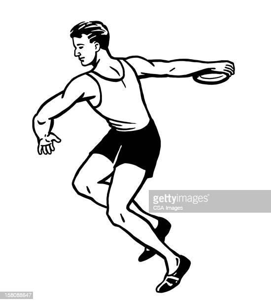 man throwing discus - discus stock illustrations, clip art, cartoons, & icons