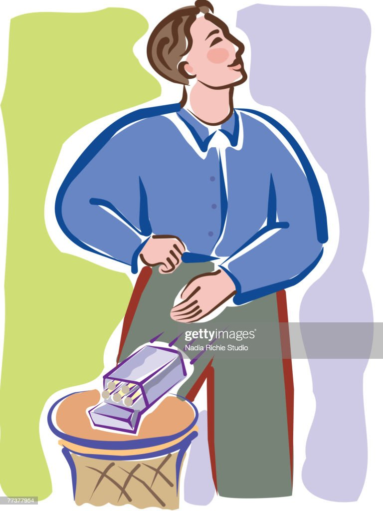 A man tossing a cigarette pack into the trash bin : Vector Art