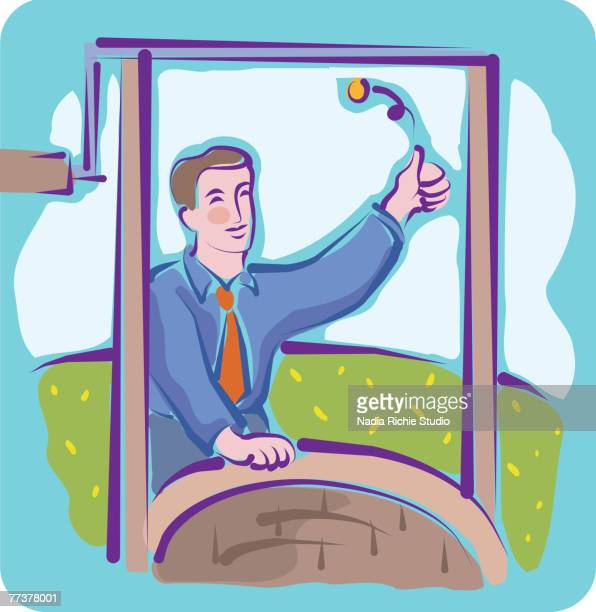 a man tossing a coin into a wishing well - flipping a coin stock illustrations, clip art, cartoons, & icons