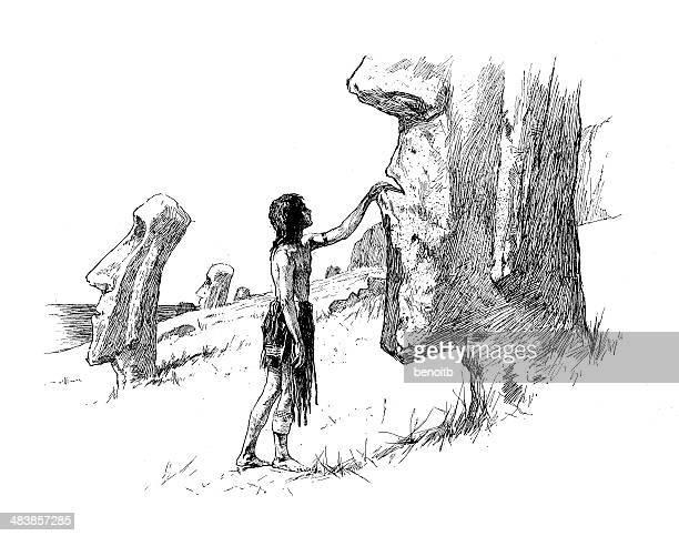 man touching moai - easter island stock illustrations, clip art, cartoons, & icons