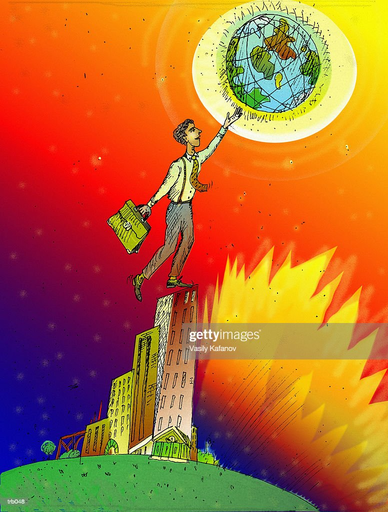 Man Touching the World : Stock Illustration