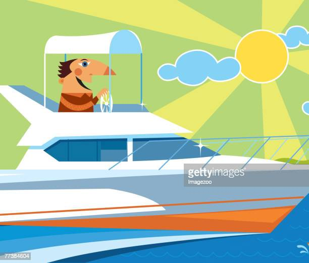 Man travelling in a motor yacht
