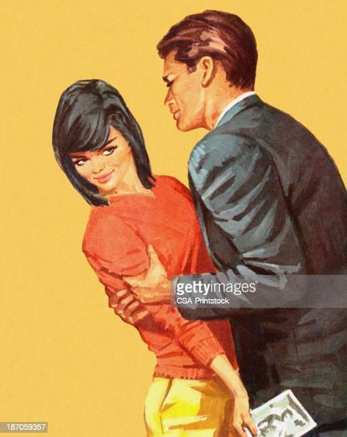 ilustraciones, imágenes clip art, dibujos animados e iconos de stock de hombre intenta suspender mujer de pelo oscuro - flirting