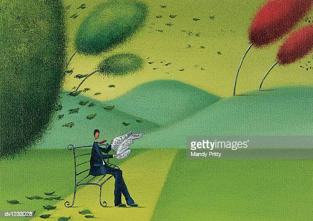man trying to read his newspaper in a windy park - mandy pritty stock illustrations