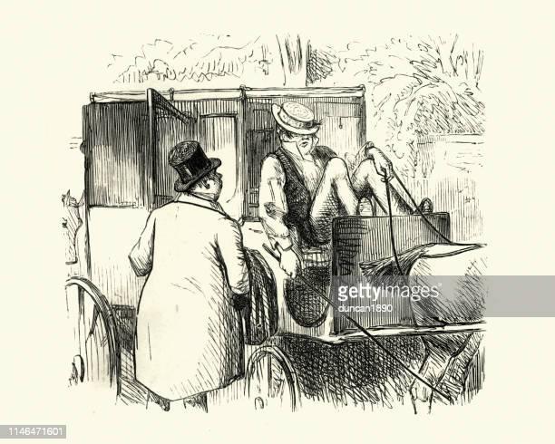 ilustraciones, imágenes clip art, dibujos animados e iconos de stock de un hombre tratando de despertar a un taxista, una caricatura victoriana - taxista