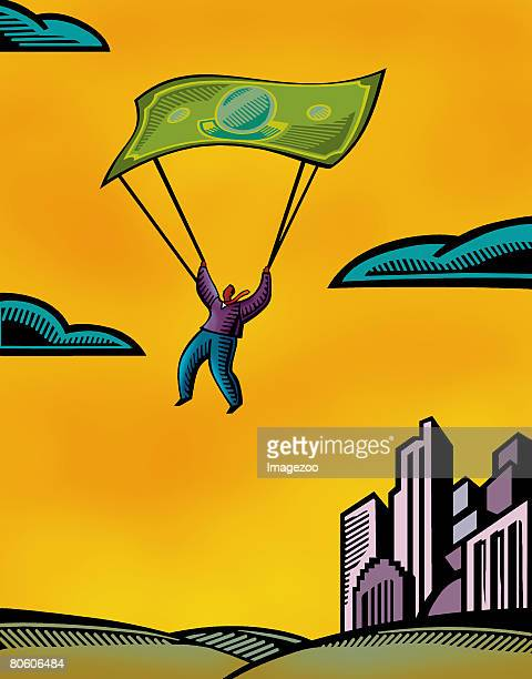 a man using a bank note as a parachute - cash flow stock illustrations, clip art, cartoons, & icons