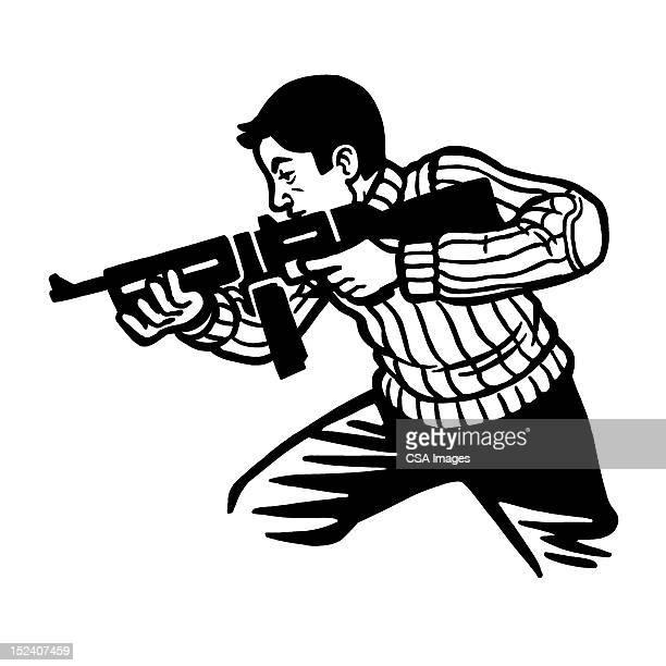 Man Using Automatic Rifle