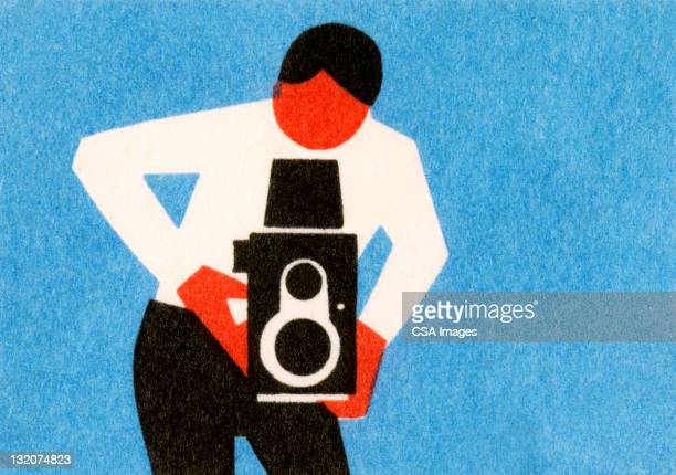 man using old timey camera - camera stand stock illustrations, clip art, cartoons, & icons