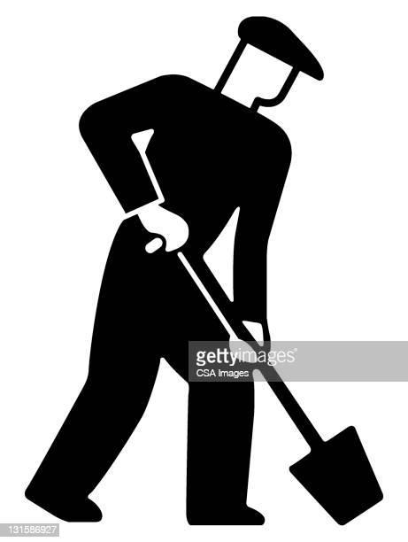 man using shovel - 掘る点のイラスト素材/クリップアート素材/マンガ素材/アイコン素材