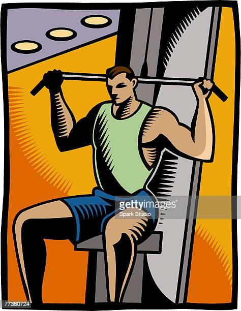 a man using the lateral pull - anaerobic stock illustrations, clip art, cartoons, & icons