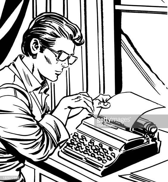 man using typewriter - authors stock illustrations
