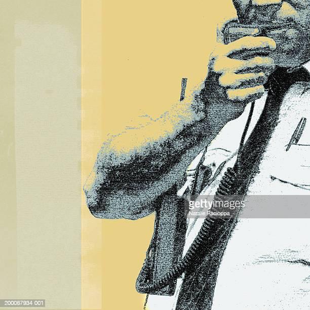 man using walkie-talkie - 45 49 years stock illustrations, clip art, cartoons, & icons