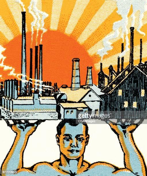 man v. industry - sunset stock illustrations