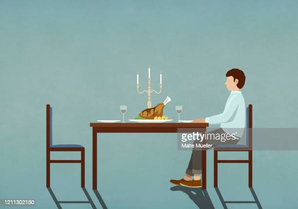man waiting at table with candlelight dinner - anticipation stock illustrations