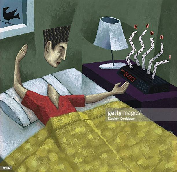 man waking up - lying on back stock illustrations, clip art, cartoons, & icons