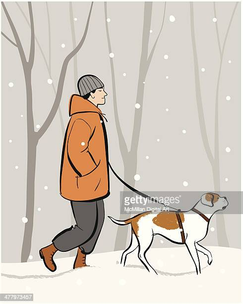 man walking dog - dog leash stock illustrations, clip art, cartoons, & icons