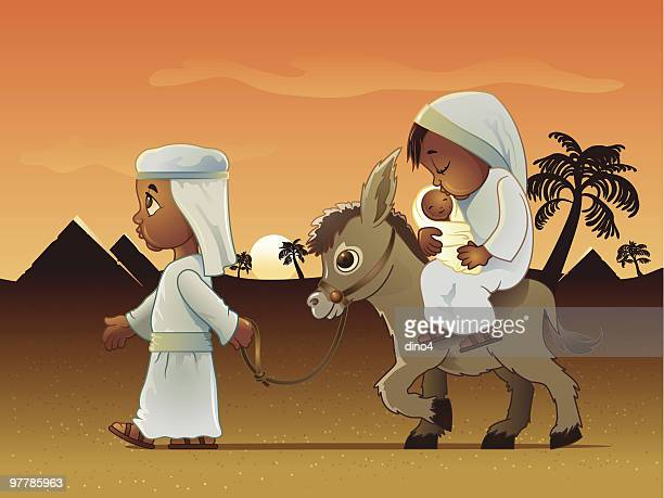 man walking donkey carrying wife and baby in egypt - jesus stock illustrations, clip art, cartoons, & icons