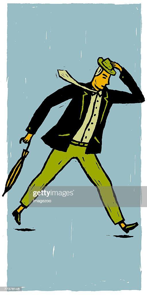 man walking fast : Illustration