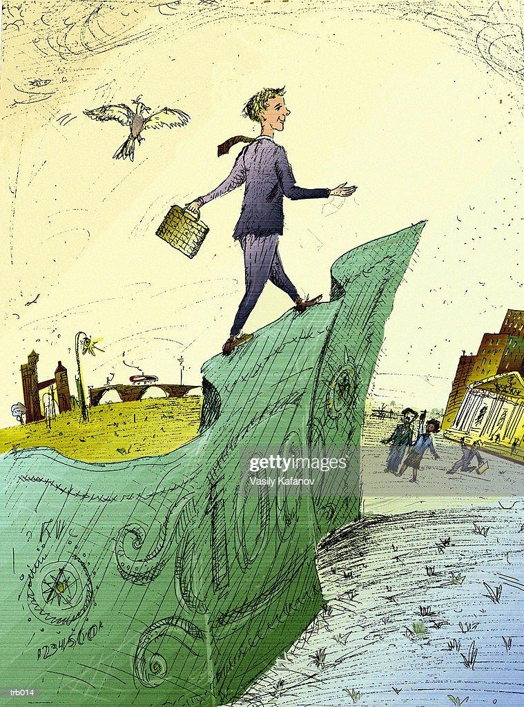Man Walking on Edge of Bill : ストックイラストレーション