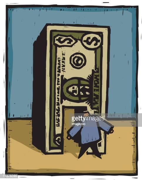 man walking through a dollar bill - spending money stock illustrations, clip art, cartoons, & icons