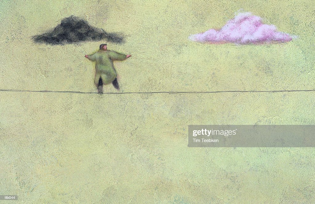 Man Walking Tightrope : Stock Illustration