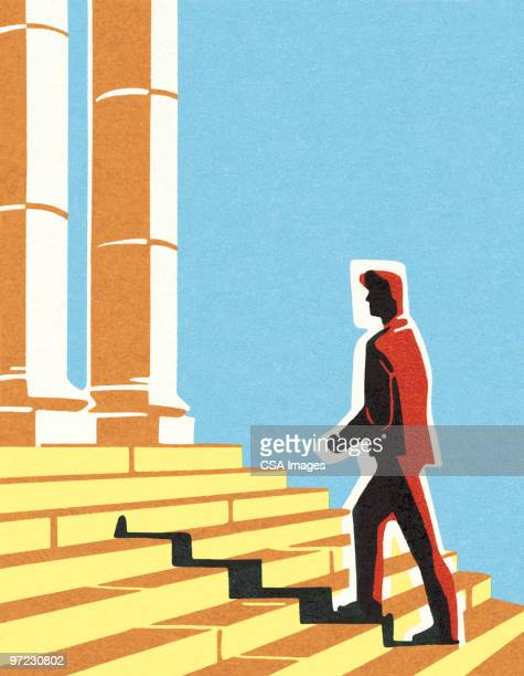 man walking up steps - courthouse stock illustrations, clip art, cartoons, & icons