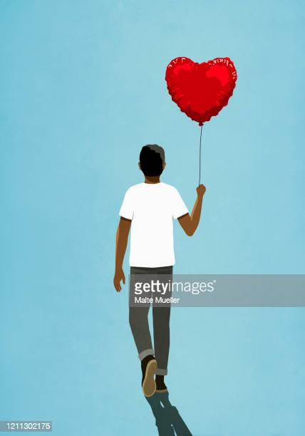 man walking with heart shape balloon - only men stock illustrations