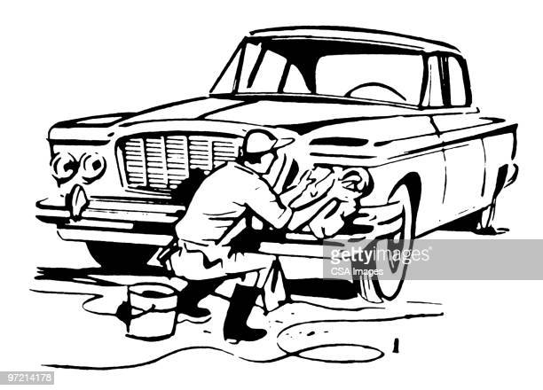 man washing a car - scrubbing stock illustrations, clip art, cartoons, & icons