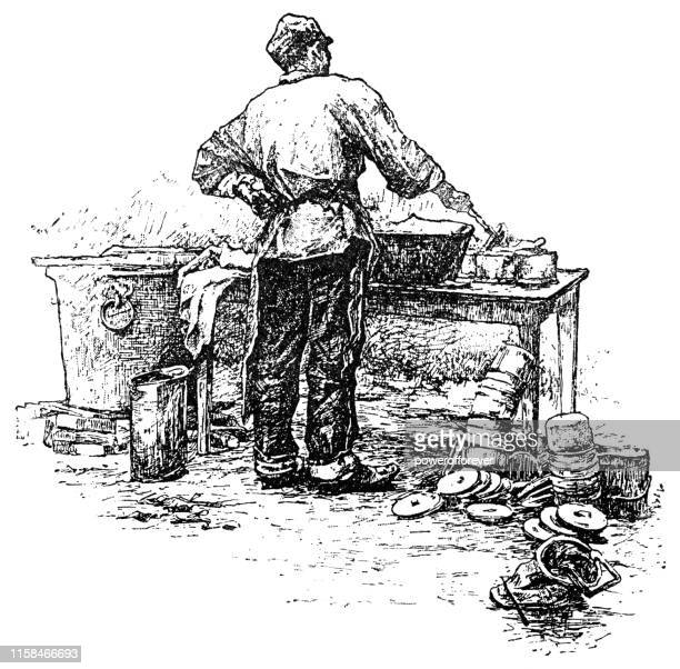 man washing a stack of dirty pots and pans - 19th century - washing dishes stock illustrations, clip art, cartoons, & icons