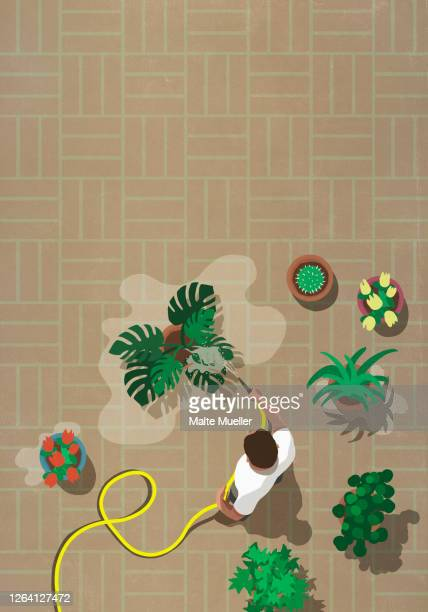 man watering patio plants with hose - leisure activity stock illustrations