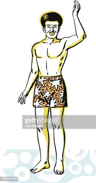 man waving - pacific islands stock illustrations