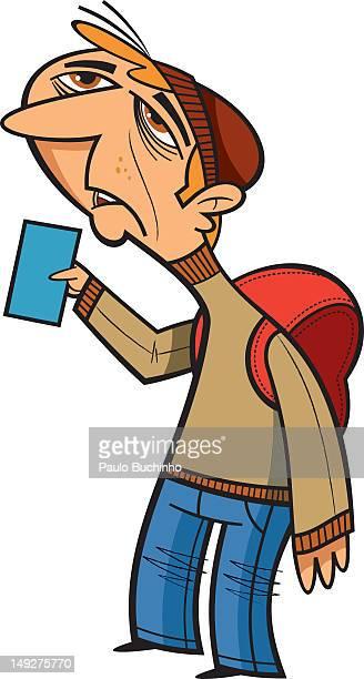 ilustrações de stock, clip art, desenhos animados e ícones de a man wearing a backpack - buchinho