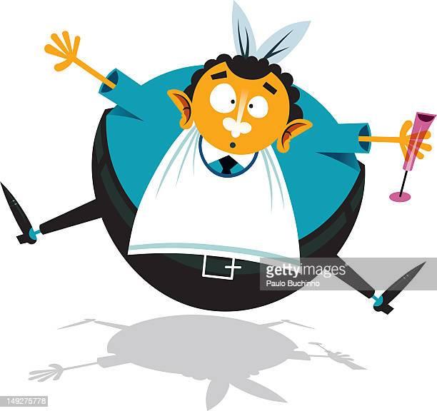 ilustrações de stock, clip art, desenhos animados e ícones de a man wearing a bib and holding a champagne flute - buchinho