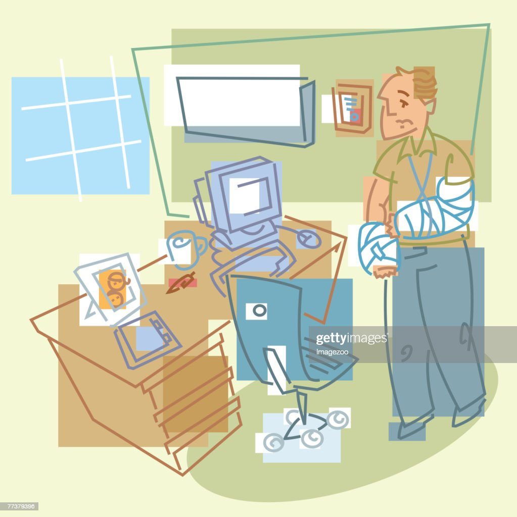 man wearing a cast : stock illustration