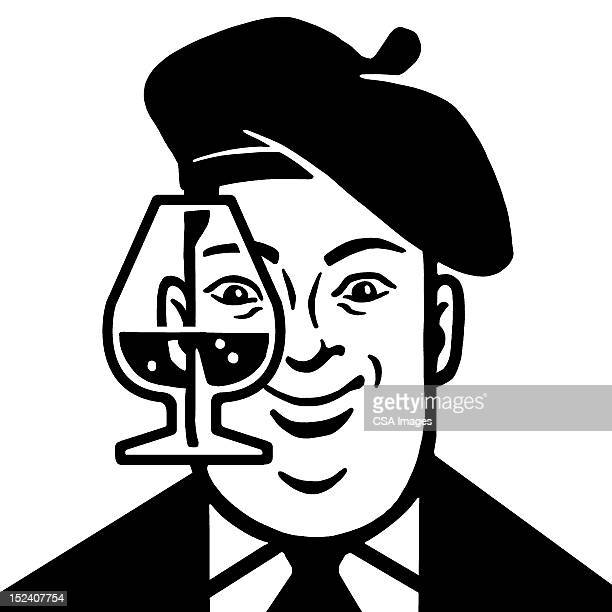 man wearing beret with drink - cognac brandy stock illustrations, clip art, cartoons, & icons