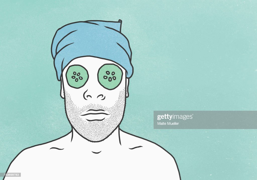 Man wearing face mask and towel against blue background : stock illustration