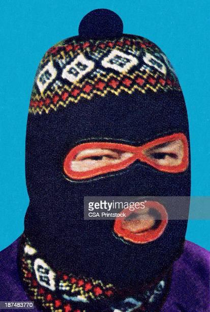 man wearing face mask - ski goggles stock illustrations, clip art, cartoons, & icons