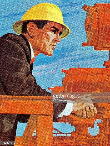 ハード帽子を着ている男性