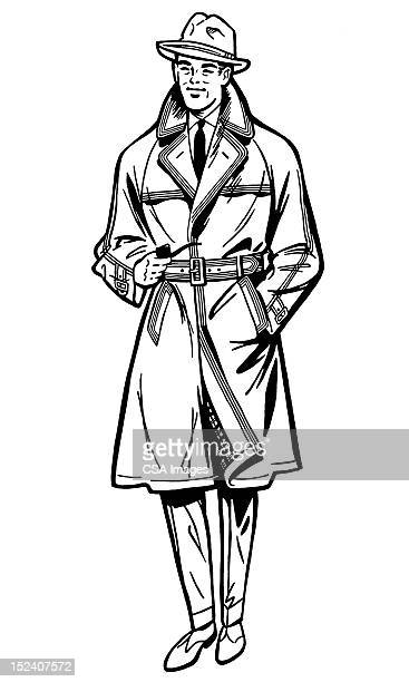 man wearing hat and trench coat - trench coat stock illustrations