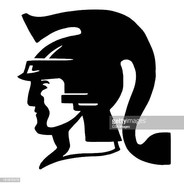 man wearing helmet - army soldier stock illustrations