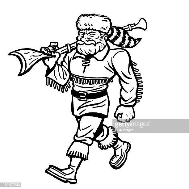 man wearing racoon hat carrying gun - fur hat stock illustrations
