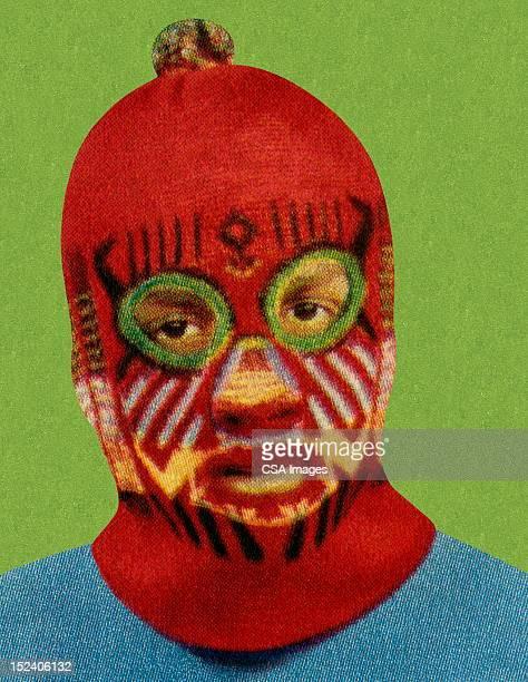 Man Wearing Red Face Mask