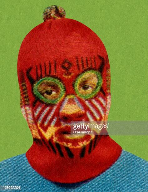 man wearing red face mask - humourless stock illustrations, clip art, cartoons, & icons