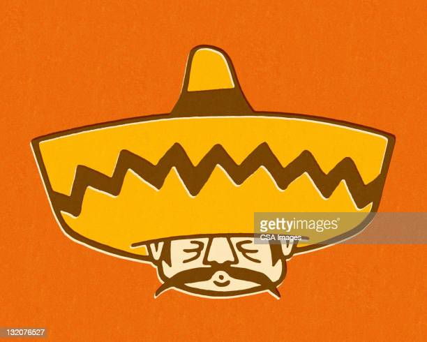 man wearing sombrero - sombrero stock illustrations
