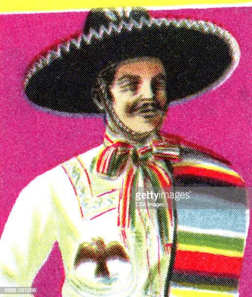 man wearing sombrero - sombrero stock illustrations