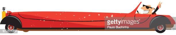 ilustrações de stock, clip art, desenhos animados e ícones de a man wearing sunglasses driving a long luxury car - buchinho